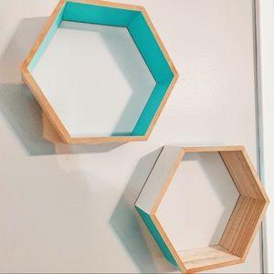 Set of Hexagon Wooden Shelves